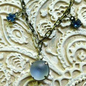Oxidized Silver Tone Frosty Blue Cabochon Necklace